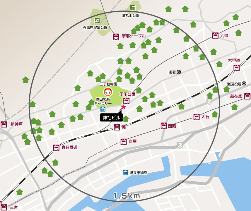 弊社ビルから1.5km圏内の施工実績マップ