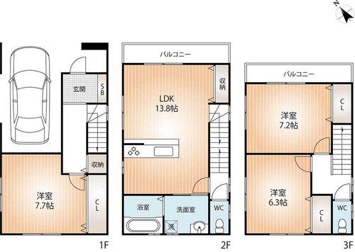兵庫区和田宮通5 新築戸建 2850 間取り図
