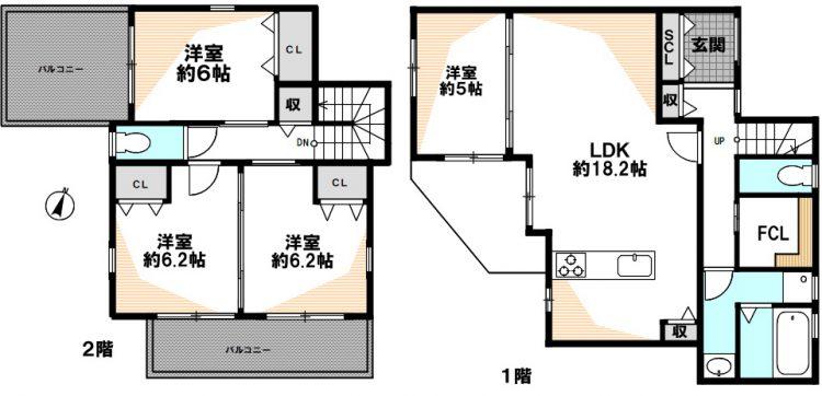 灘区薬師通2 新築戸建 4480 D号地 間取り図