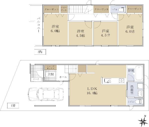兵庫区氷室町2 新築戸建 3088 B号地 間取り図