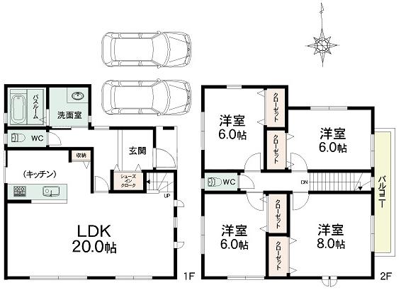 灘区城の下通2 新築戸建 4480 間取り図